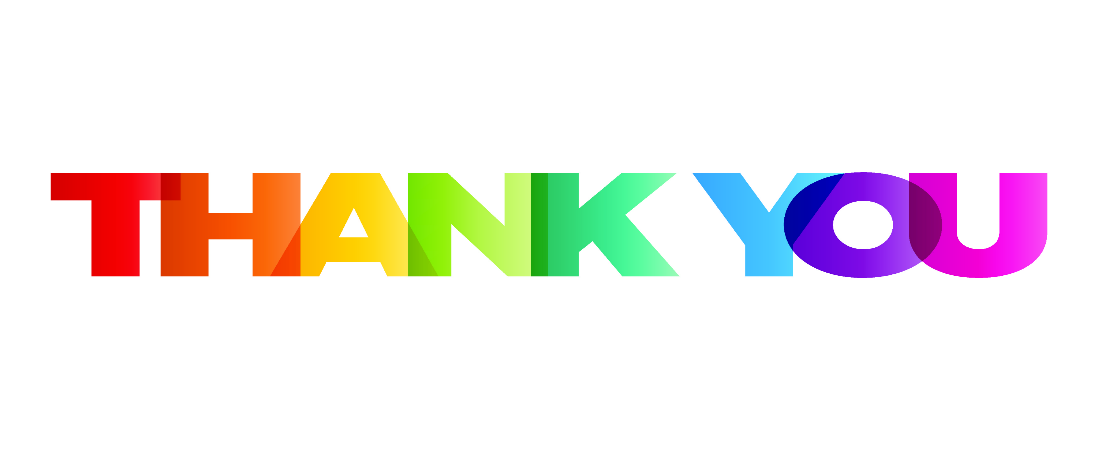 """""""Thank you"""" text in rainbow colors"""