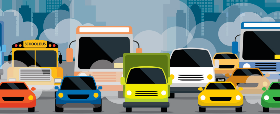 Animated colorful cars, buses and taxis