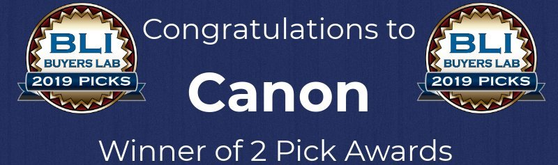 "BLI logo and the words ""congratulations to Canon"""