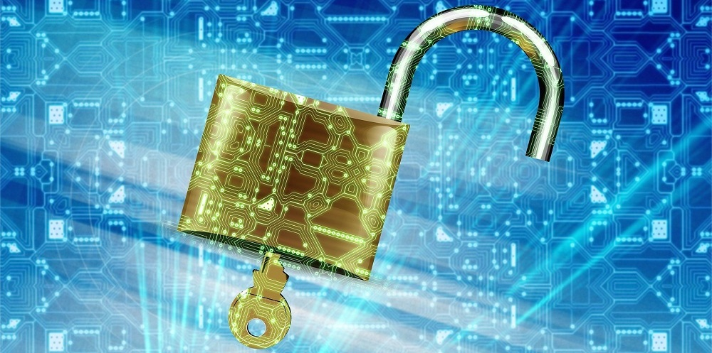 a padlock on a digital background